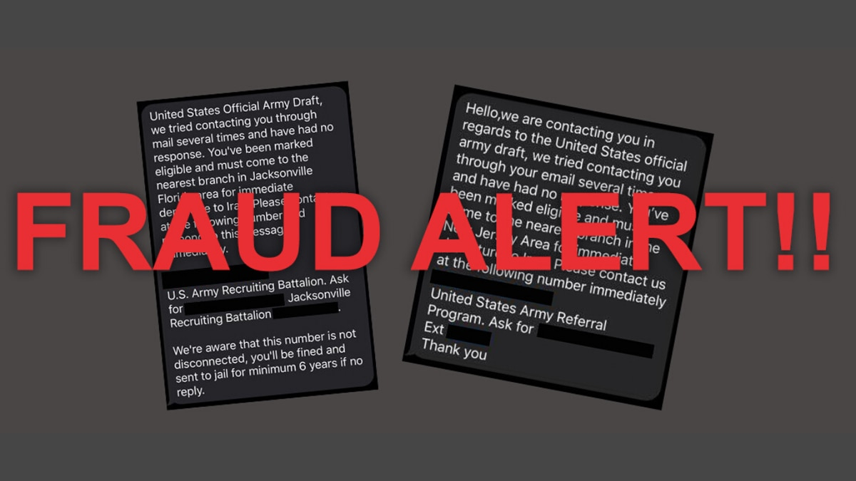 The U.S. Army is warning people about fraudulent text messages stating they have been selected...