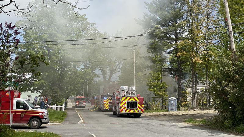 Crews battled a fire Spring Street in Old Town Sunday morning.