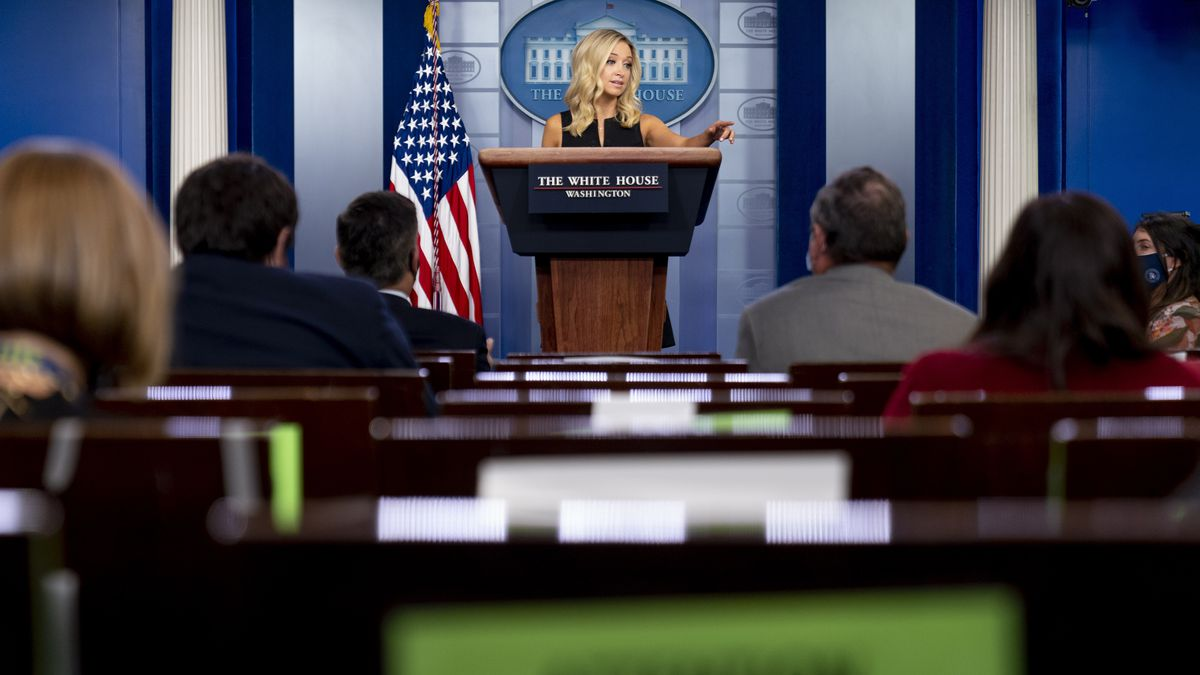 White House press secretary Kayleigh McEnany calls on a reporter during a press briefing in the James Brady Press Briefing Room at the White House in Washington, Tuesday, Sept. 22, 2020.