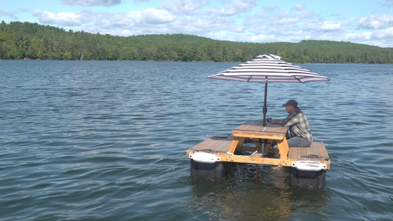 Lon Cameron is building and selling motorized floating picnic tables