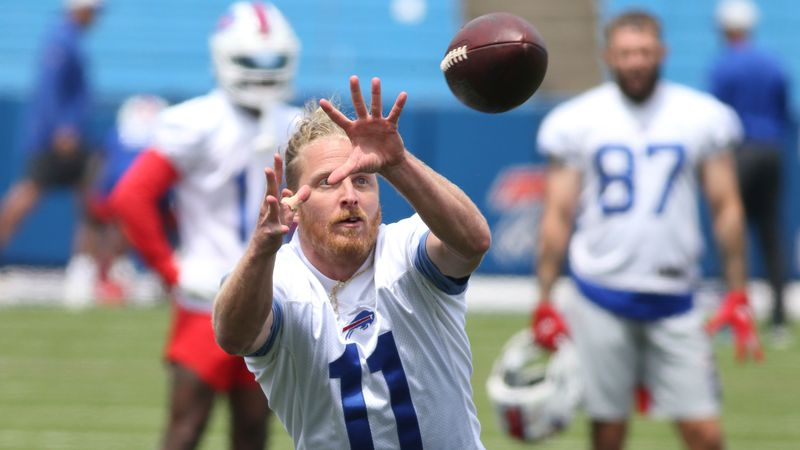 Buffalo Bills wide receiver Cole Beasley (11) makes a catch during NFL football practice in...