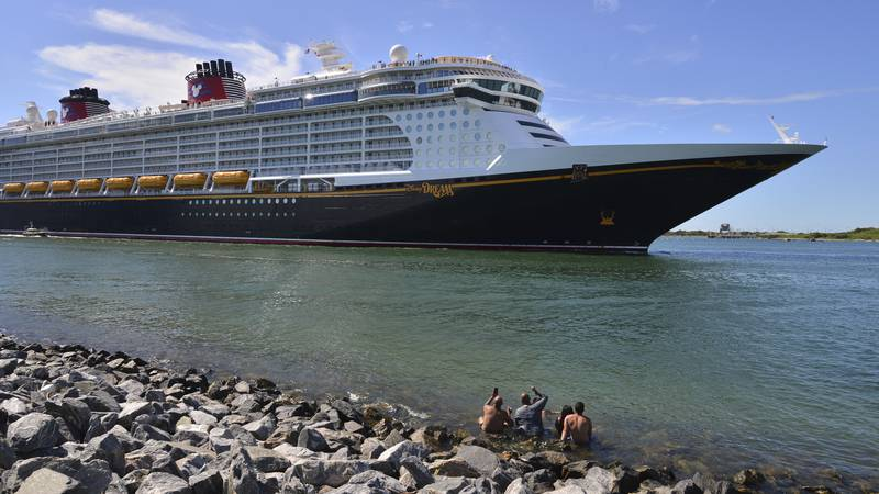 The Disney Dream sails out of Port Canaveral, Fla. on a two night test sailing, also known as a...