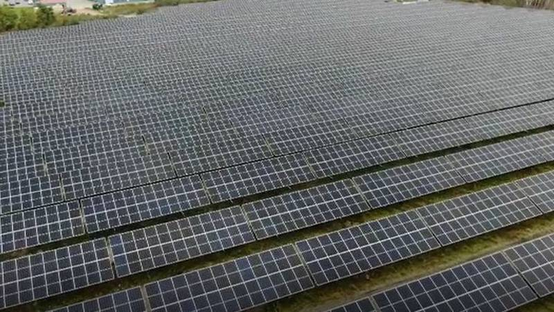 Hermon solar field nears end of construction.