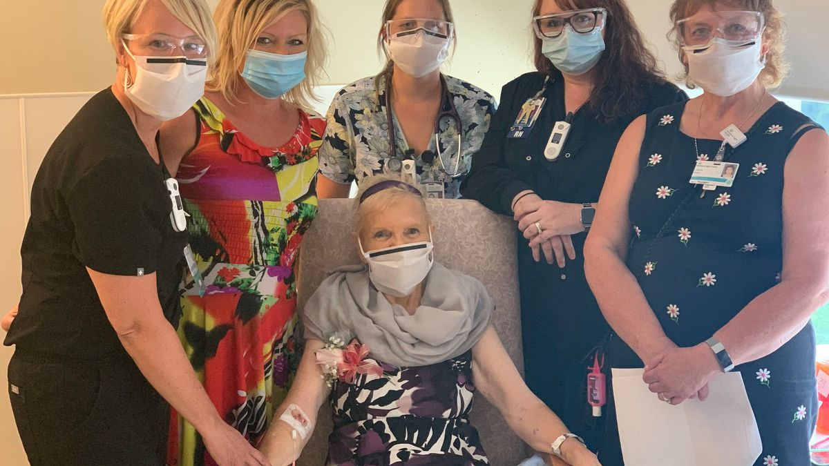 """""""Laura speaks of her care team like they are her dear friends … because in fact, they are. Amy Andrews, RN, nurse manager; Alanna Davis, RN; and Erika McPherson, BSN, RN, assistant nurse manager, all on our Grant 4 unit helped make this day special for Laura."""""""