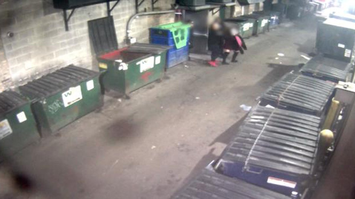 The man in red shoes is suspected of taking the woman between two dumpsters, where the alleged...