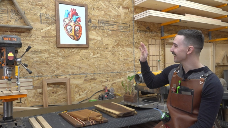 Justin Upton explains the meaning behind the name of his woodworking business, Heartwood Designs
