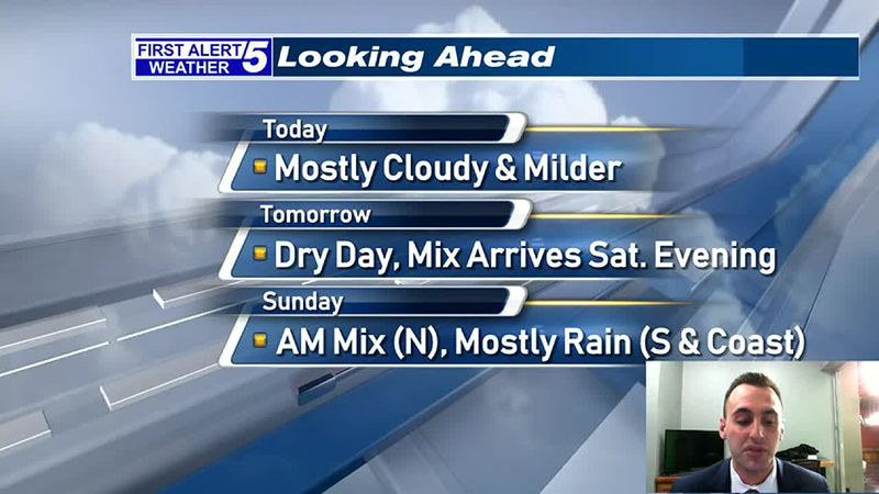 Mainly Cloudy & A Little Milder Today