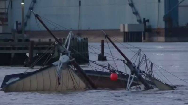 """The Coast Guard is investigating after the schooner """"Mary E"""" capsized in the Kennebec River..."""