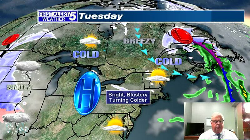 Brighter, Blustery & Turning Colder Tuesday
