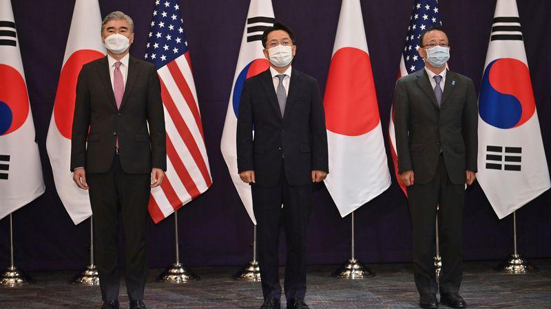 From left, U.S. special representative for North Korea Sung Kim, South Korea's Special...