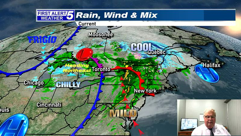 Rain & Wind, with a Wintry Mix Far North Tonight