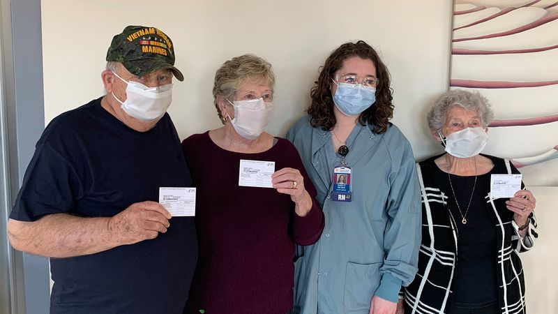 William and Judith Fraser and Helen Cowan received their shots from their very own...