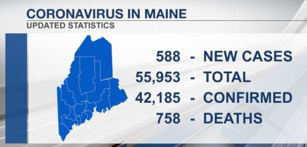 Newly recorded cases of coronavirus in state of Maine