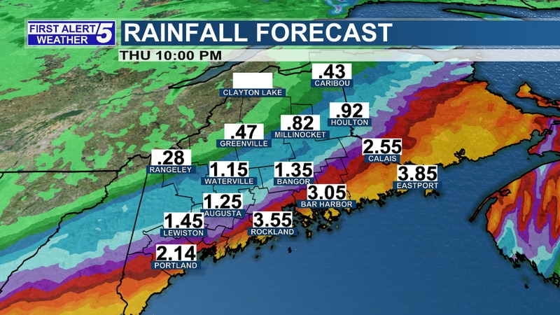 """Rainfall totals will be highest along the coast where 2-4"""" can be expected with some spots..."""