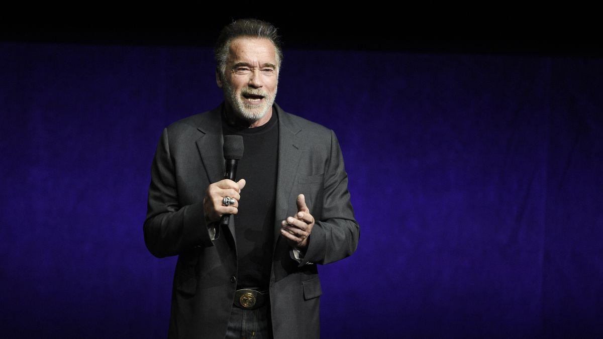 "FILE - Arnold Schwarzenegger discusses ""Terminator: Dark Fate"" during the Paramount Pictures..."