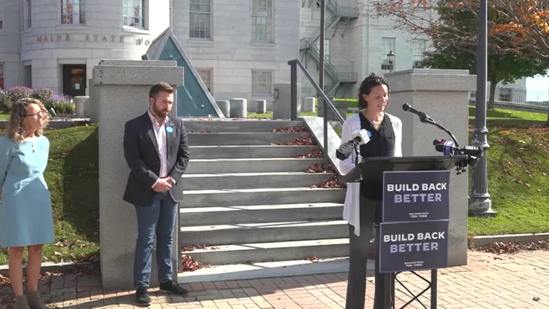 Advocates for increased investment in child care spoke outside the Maine State House Tuesday.