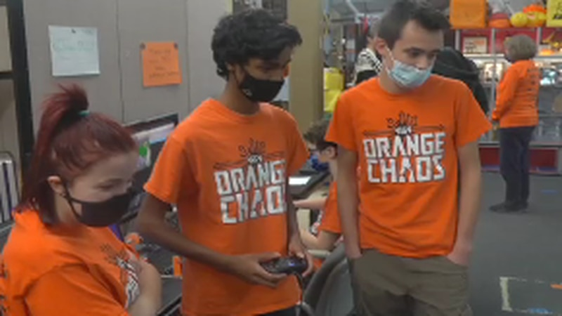 The team assembles robots that compete in global contests.
