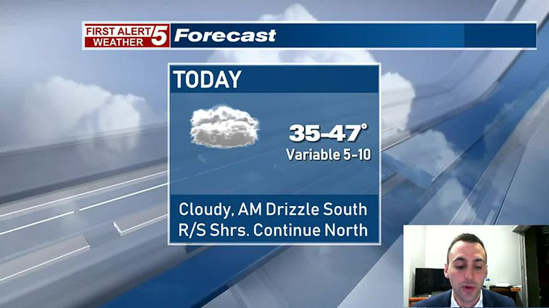Cloudy Today, Rain & Snow Showers Continue North