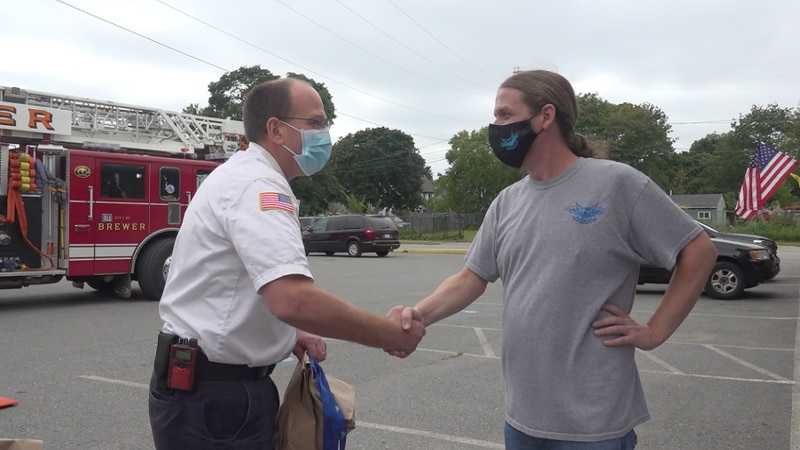 First responders thanked with drive-thru lunch in Brewer