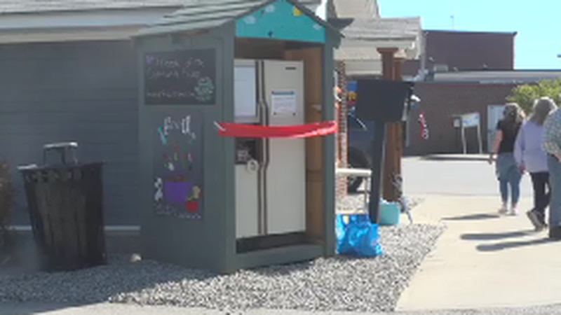 "The ""Friends of the Community"" Fridge is located just outside the Skowhegan Chamber of Commerce."