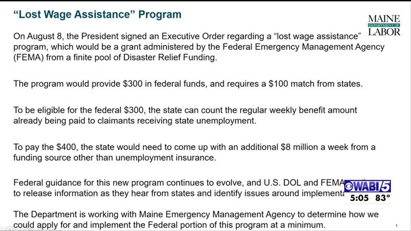 Maine labor department says they have questions surrounding Lost Wage Assistance Program