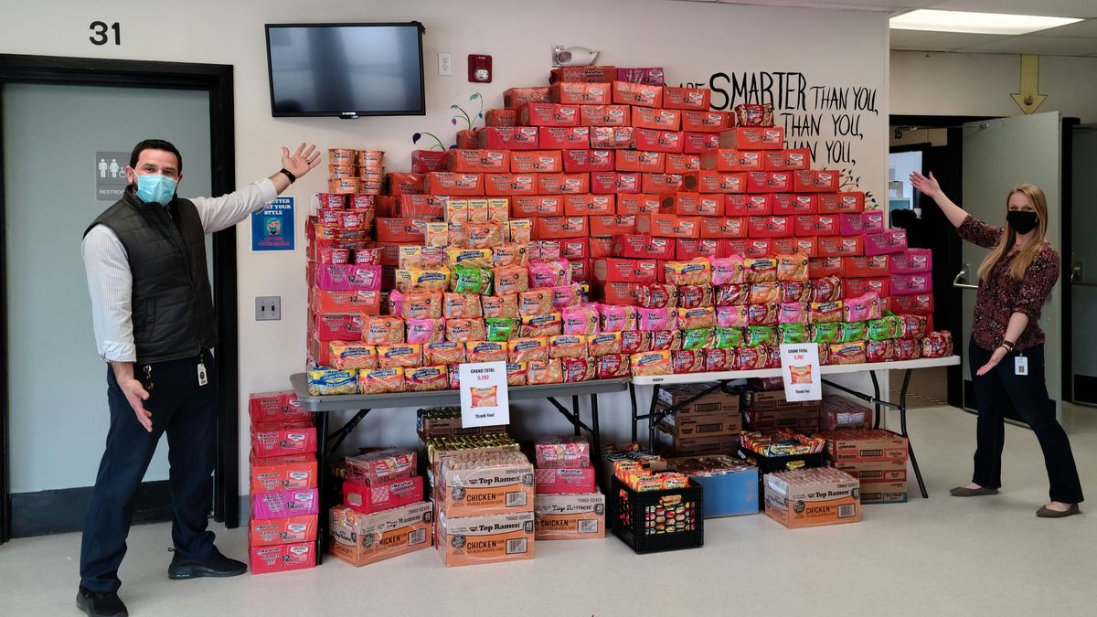 Students collected ramen for local food pantries.