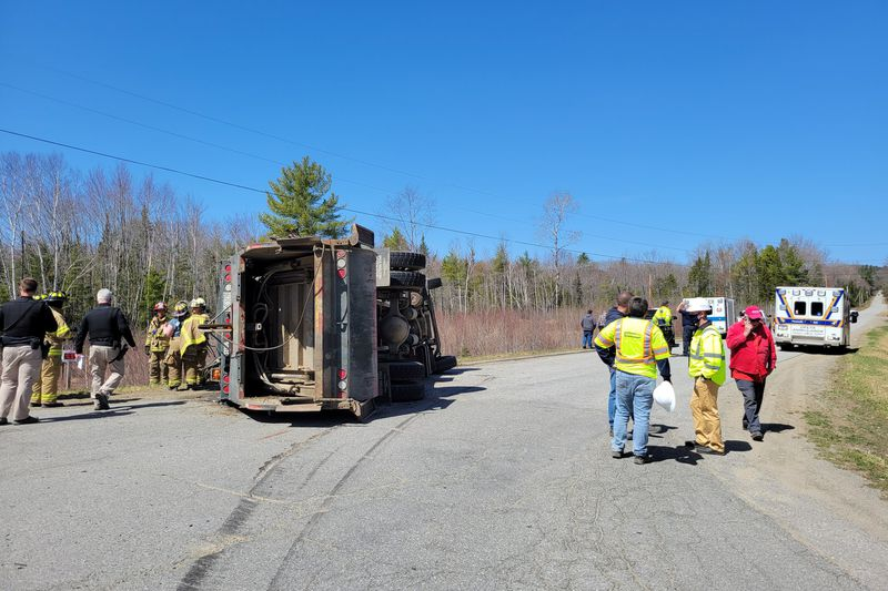 One man was taken by LifeFlight after the truck he was driving tipped over.