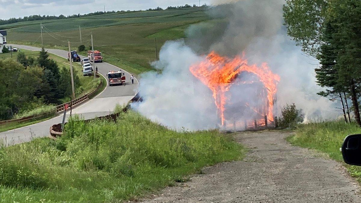The Watson Settlement Bridge caught fire Monday. photo credit Abbey Lowrey