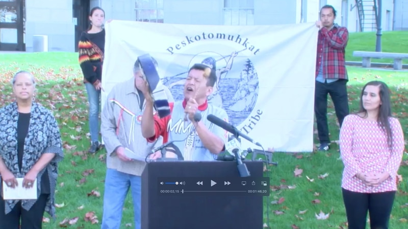 Language Keeper Dwayne Tomah performs an ancestral song to begin the VirtuaL Rally for Wabanki...