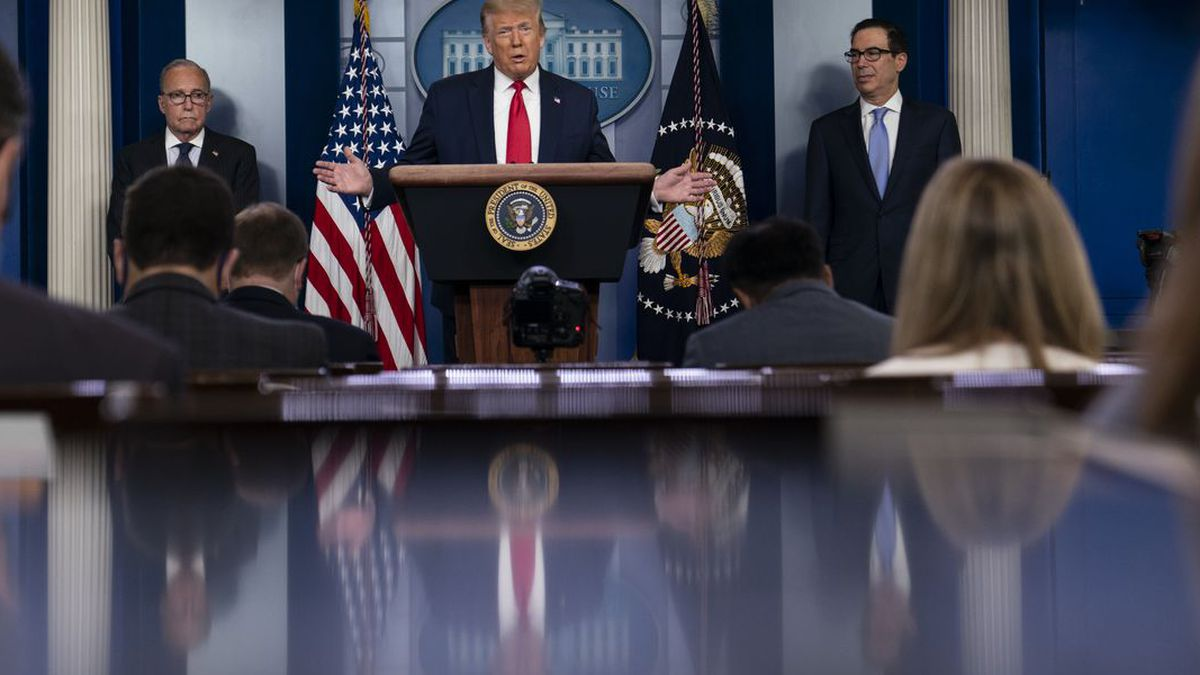 President Donald Trump speaks during a news briefing at the White House, Thursday, July 2,...