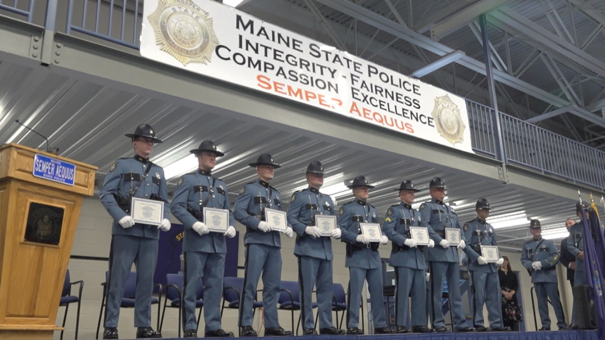 Nominees for Trooper of the Year stand at the Maine Criminal Justice Academy in Vassalboro