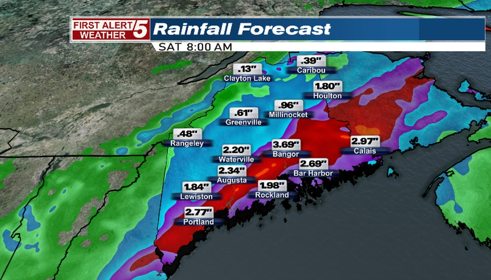 Rainfall forecast as of 1 p.m. Friday