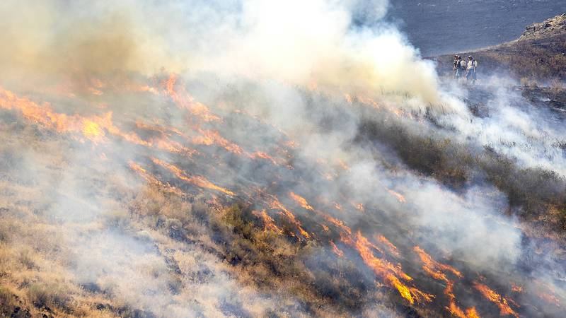People stand behind the fire line as the flames spread through dry grasses at the Steptoe...