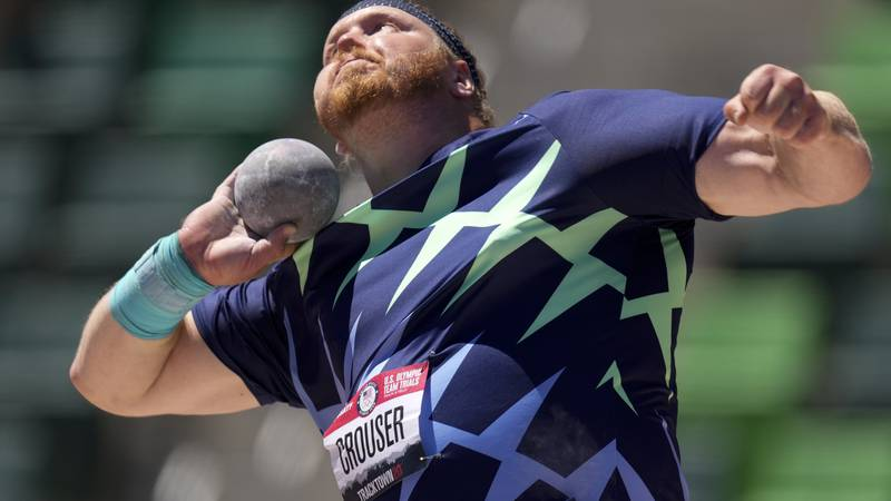 FILE - In this June 18, 2021, file photo, Ryan Crouser competes during the prelims of men's...