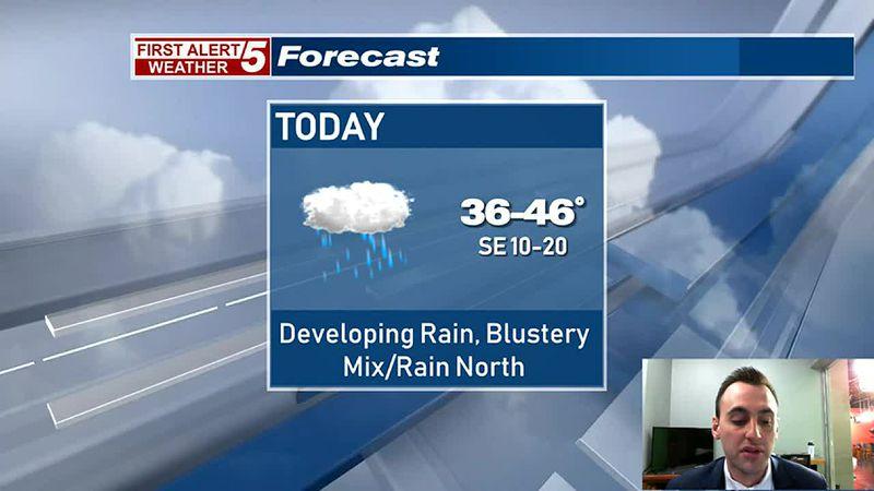 Rain & Wind Develops This Afternoon, Mix North