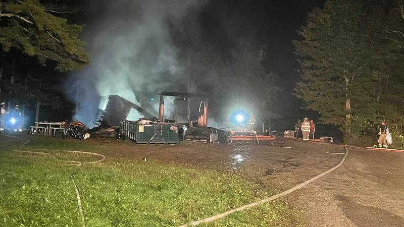 Crews from nearly a dozen towns were called to the home on Route 1 around 8:00 p.m.