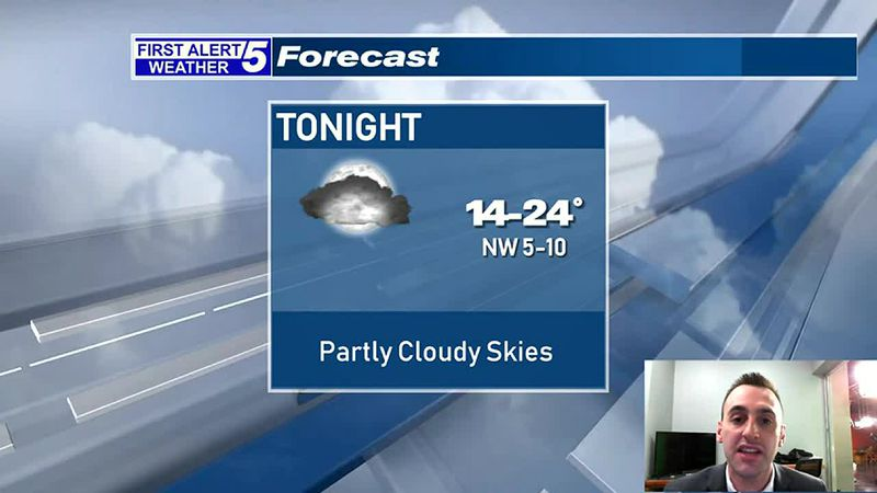 Partly Cloudy Tonight, A Few Snow Showers Possible Late Tomorrow