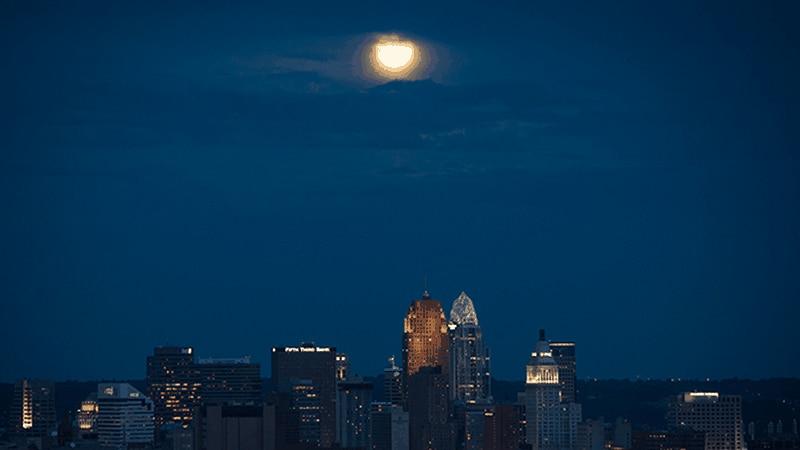 A blue moon seen over Cincinnati on August 12, 2012.