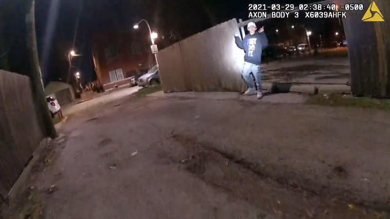 This image from Chicago Police Department body cam video shows the moment before Chicago Police...