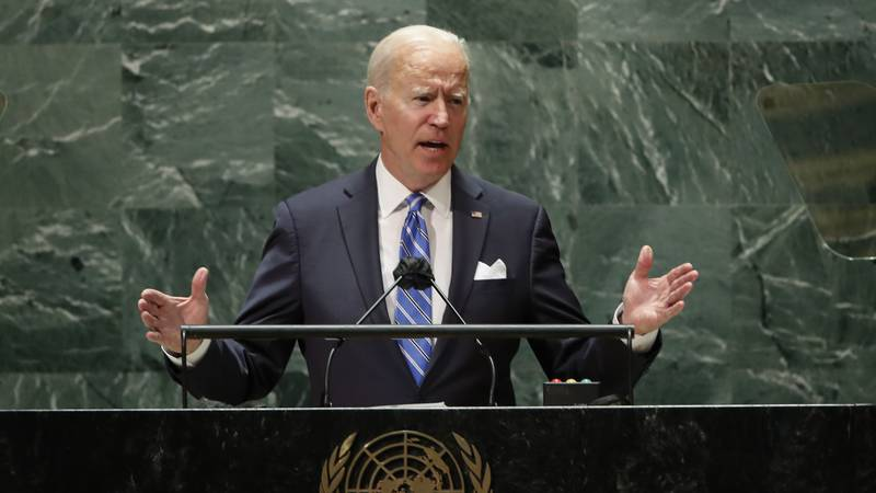 U.S. President Joe Biden speaks during the 76th Session of the United Nations General Assembly...