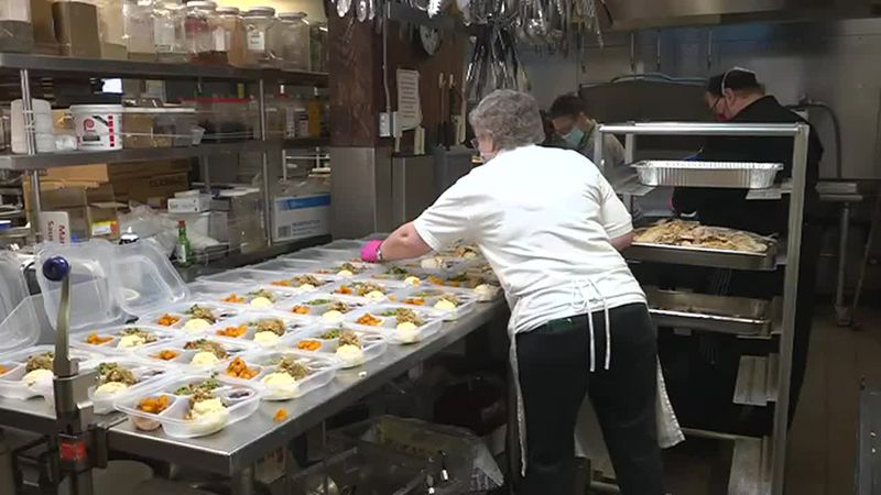 Husson University dining staff prepare 96 meals for seniors.