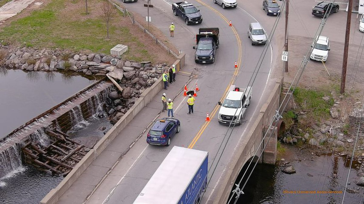 3rivers unmanned aerial services captured photos of the sinkhole on the Trafton Bridge