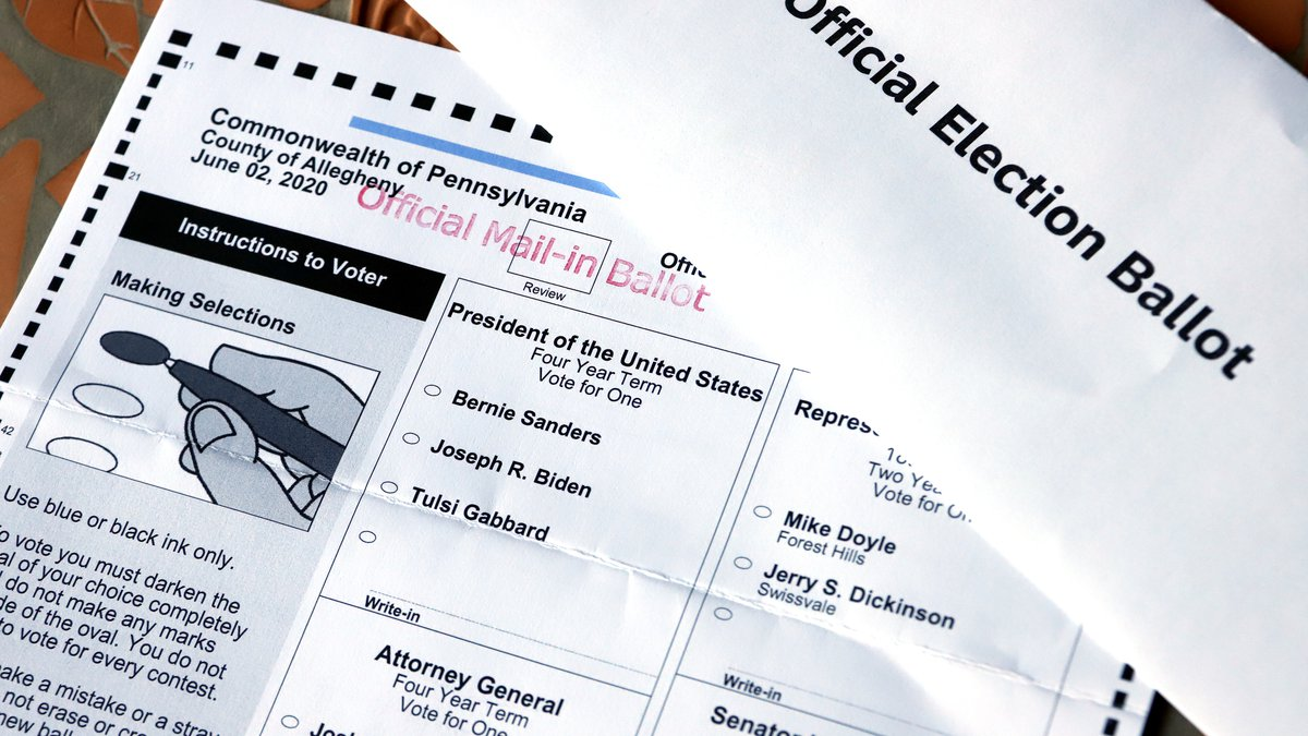 FILE - This May 26, 2020, file photo shows an Official Democratic General Primary mail-in...