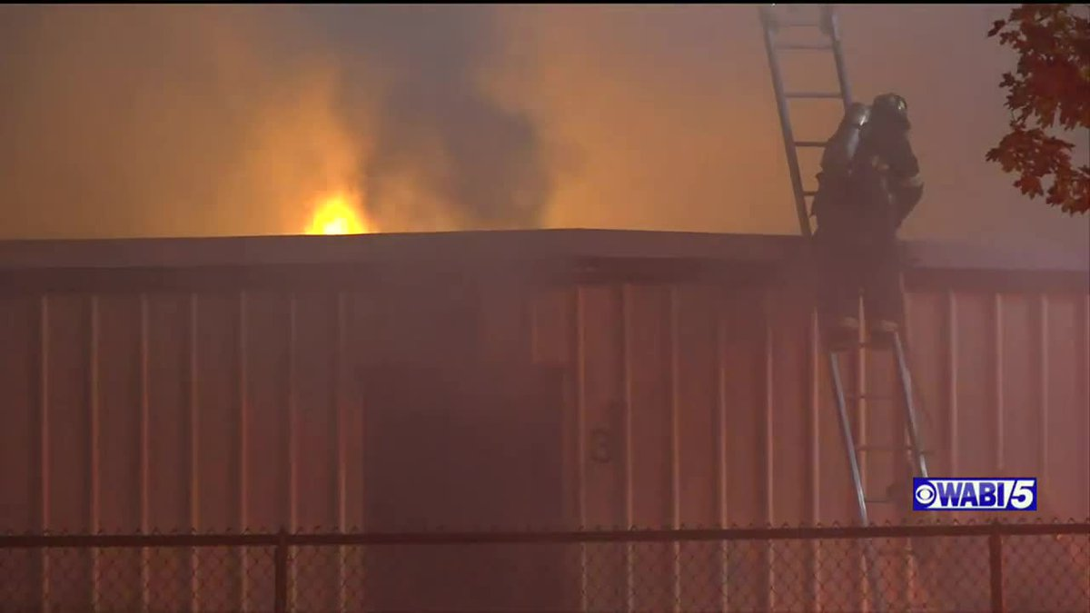 Firefighters respond to a storage unit fire in Bangor