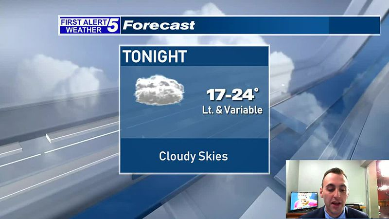 Cloudy Skies Tonight, A Few Snow Showers Possible South Tomorrow