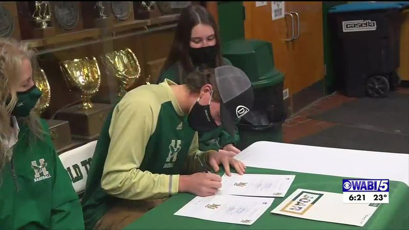 Old Town's Evans signs to play baseball at Husson