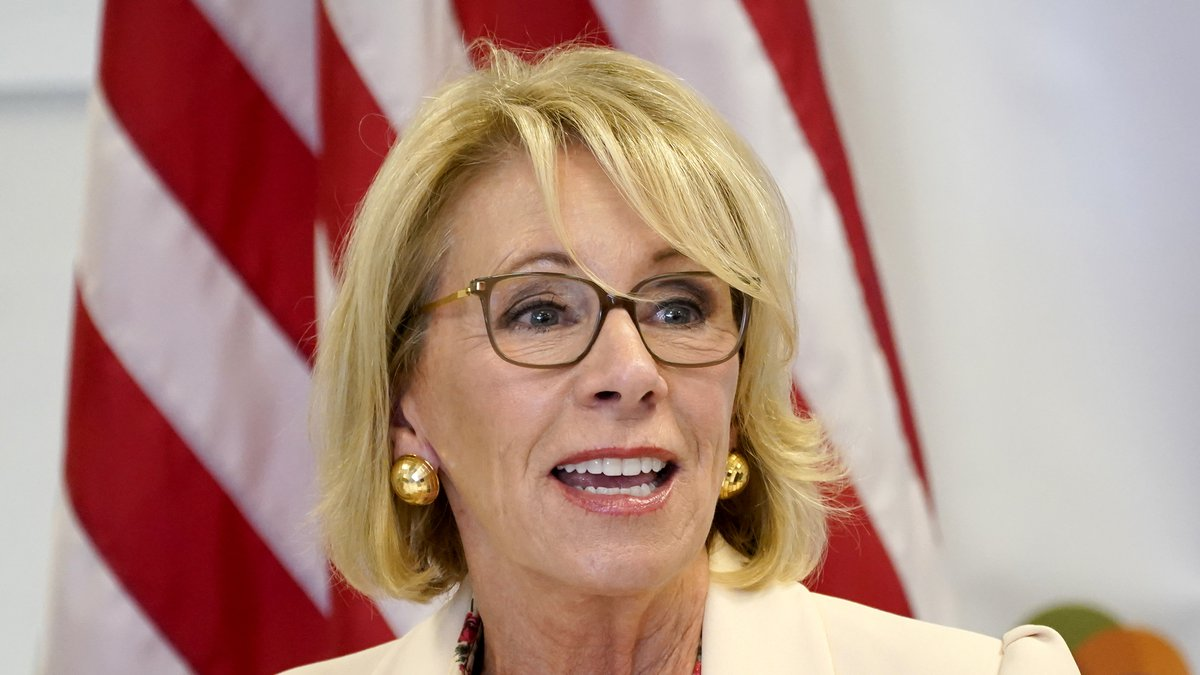 In this Oct. 15, 2020, file photo, Secretary of Education Betsy DeVos speaks at the Phoenix...