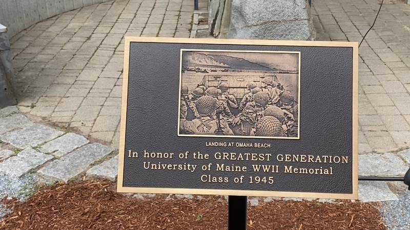 Plaque honoring WWII veterans at University of Maine.