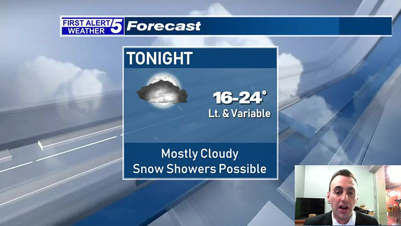 Mostly Cloudy Tonight With An Isolated Snow Shower Possible