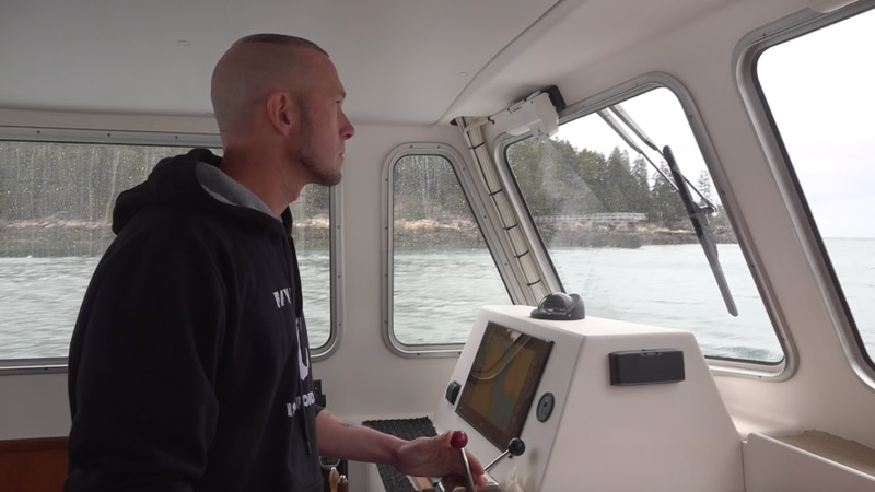 Captain Richard Howland of the Fishing Vessel Victoria, on his way to Little Cranberry Island.